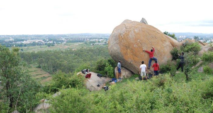 bouldering at turahalli